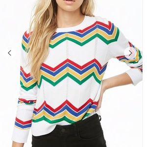 Rainbow Chevron Sweater - F21 Medium